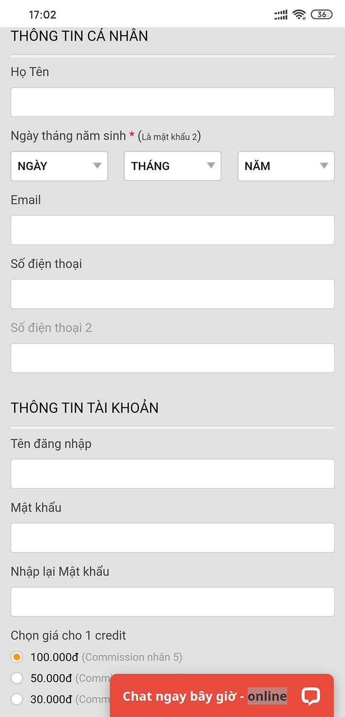 Giao diện đăng ký bong99 mobile